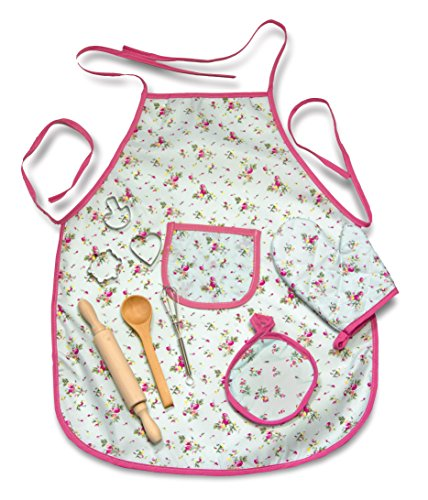 Kids Adorable Mini Chef's Apron Set Pretend Play includes Apron, Cooking Mitt, Pot Holder, Rolling Pin, Spatula, Whisk and Cookie Cutters Complete Toy Kitchen Accessories Set (10 pcs) (Adorable Apron)