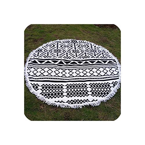 April With You New Picnic Mat Fringed Large Round Beach Cushion Multifunctional Outside Wrapped Scarf Shawls Seaside Holiday Beach Mat 2019,Navy Blue,Two Seat