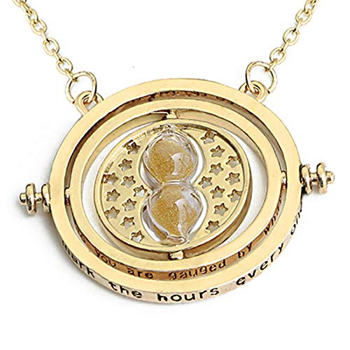 Boormanie Granger Time Turner Hourglass Deathly Hallows Necklace,Granger Rotating Hour Glass Pendant Necklace(Orange) (Hermione Granger Harry Potter And The Deathly Hallows)