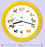 KOOKOO KidsWorld Silent Move Wall Clock with Animal Sounds Farm Animal Clock with 12 Animal Calls with Light Sensor