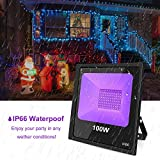 UV Black Lights for Parties, 100W UV LED Blacklight with 10ft Power Cords IP66 Ultra Violet Flood Light Stage Lighting - Perfect for Halloween, Club, Glow in The Dark, Body Paint, Aquarium