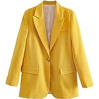 Watrpro Women Fashion Yellow Blazer Coat Vintage One Button Long Sleeve Female Outerwear Tops