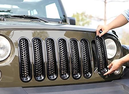 7PCS ICARS Matte Black Mesh Grill Insert Jeep Grille Guard For 2007-2018 Jeep Wrangler JK JKU Unlimited Rubicon Sahara Upgrade Clip in Version