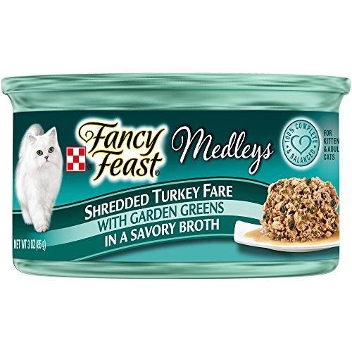 Fancy Feast Elegant Medley`s Shredded Turkey Fare w/ Garden Greens Canned Cat Food 24 – 3oz Cans