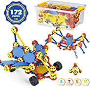 AOKESI STEM Building Toys for Kids 172 PCS Snap Together Building Kits | Engineering Early Learning Building B