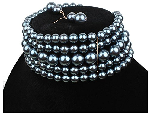 Shineland Multi Strand Simulated Faux Pearl Choker Necklaces with Earring (Hematite) (Hematite Necklace Multi Strand)