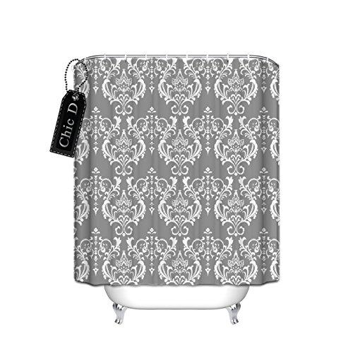 Best Grey Damask Shower Curtain Bathroom Small Stall Size 48 X 72 Inch Mildew Free