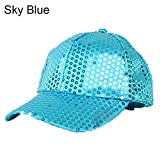 AchidistviQ Women Men Glitter Sequins Baseball Caps Snapback Hats Party Outdoor Adjustable Sky Blue