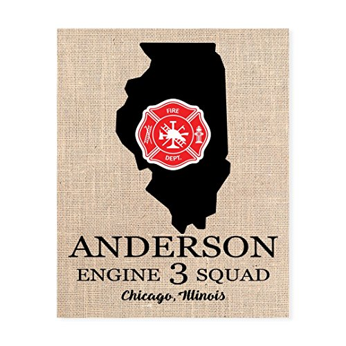 Fireman Badge State Print, Personalized, Illinois or Any State, 8x10 Burlap Wall Art (Do Firefighters Have Badges)