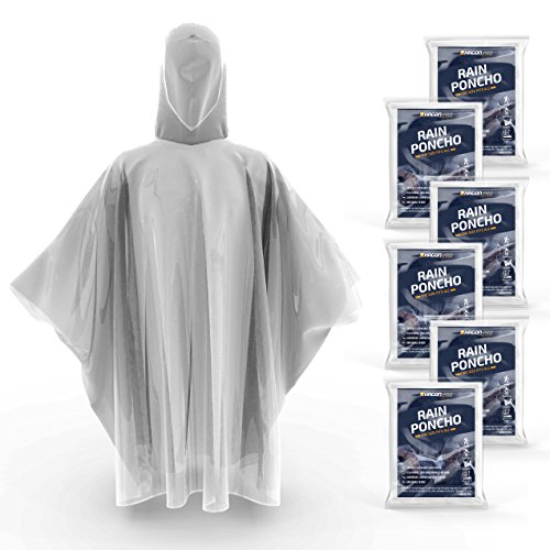 Hagon Pro Disposable Rain Ponchos for Adults by (6 PACK) Premium Quality 50% Thicker – 100% Waterproof Emergency Rain Ponchos with Hood – for Concerts, Amusement Parks, Camping