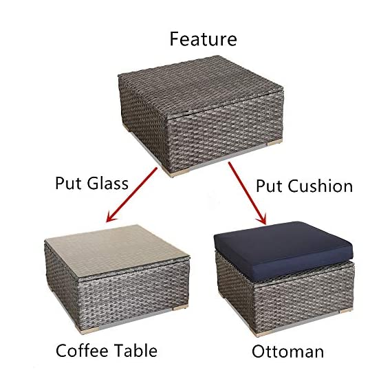 JETIME Outdoor Rattan Furniture 6pcs Patio Grey Conversation Set Garden Sofa Set Sectional Couch with Navy Cushion - -Outdoor 6pcs Sofa set Size:-Corner Sofa:29.5 x 29.5 x 25.6 in -Middle Sofa: 25.6 in x 29.5 in x 25.6 in -Tea Table 25.6 in x 25.6 in x 13.4 in -Seat Sofa Height:13.4 in -Back Sofa Heigt:25.6 in -Cushion thickness:4 inch -Patio Rattan Furniture Material:PE Rattan,Steel Frame ,Polyester Fabric,Cushion is waterproof. -Garden Wicker Conversation Sofa includes:-1 x Tea Table/Ottoman -2 x Corner Sofas -3 x Middle Sofas - patio-furniture, patio, conversation-sets - 512YQVNrRML. SS570  -