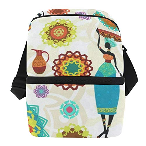 Lunch Bag African Woman Funny Reusable Cooler Bag Mens Leakproof refrigerator Storage Zipper Tote Bags for Hiking