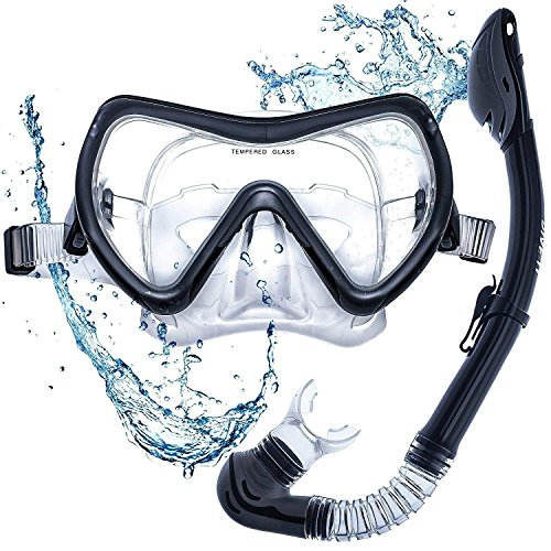 DIVE IT Snorkel Mask - Snorkel Set - Scuba Mask with Dry Snorkel Anti-fogging Lens & Dual Strap System by DIVE IT