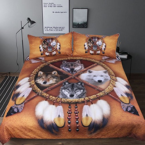 Sleepwish 4 Wolves Dreamcatcher Bedding Native American Golden Brown Indian Duvet Cover Vintage Feather Bedding Cover Set (Full)