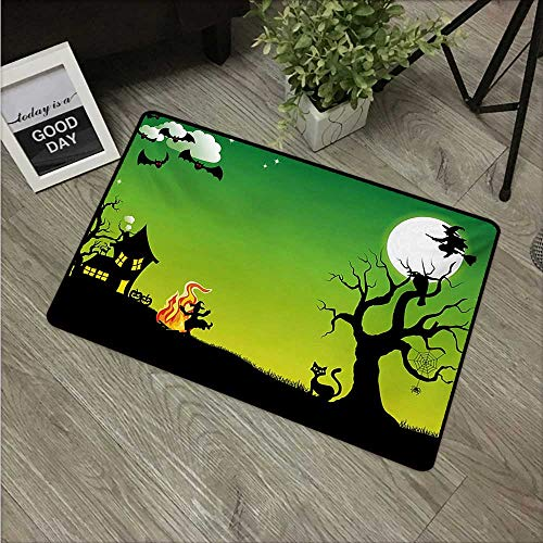 Halloween,Entrance Door Mat Witches Dancing with Fire and Flying at Halloween Ancient Western Horror Image W 31