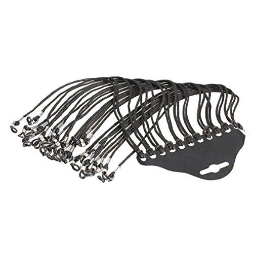 Colorful Nylon Universal Reusable Paracord Sunglass/Eyewear Lanyard Sunglass Neck Strap Rope Lanyard Holder Pack of 12pcs Black