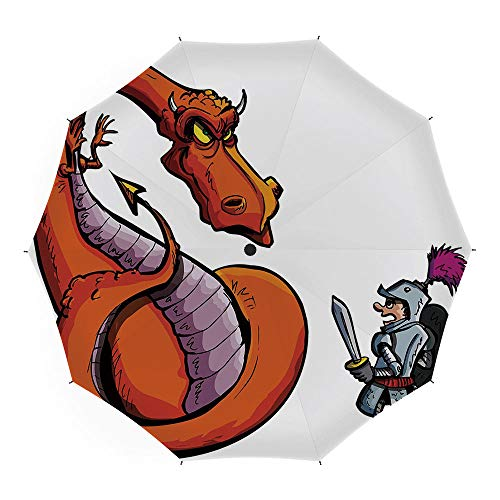 Travel Umbrella,Dragon,Auto Open Close Umbrella 45 Inch,Cartoon of A Knight Facing A Fierce Fire Spitting Character Medieval Humor Sketch ()