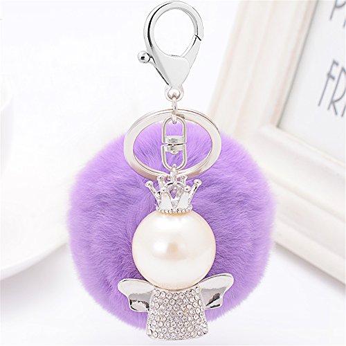 Kawaii Cute Rhinestone Pearl Lovely Cherub Angel Plush Shape As Charms Car Key Chains Key Ring Tassels keyring keychains linnor Women Bag Charms DIY (Purple)