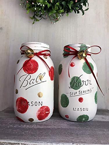 Set of 2 Christmas Themed Painted Mason Jars, Holiday Table Decor Farmhouse Canning JARS Storage Handmade Teacher Gift Idea