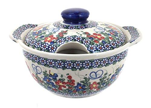 Blue Rose Polish Pottery Garden Butterfly Soup Tureen