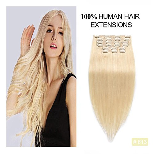- Clip in Remy Human Hair Extensions 613, Re4U 20