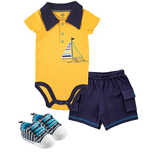 Three Sailboats (Hudson Baby Bodysuit, Cargo Shorts and Shoes Set, Sailboat, 3-6 Months)