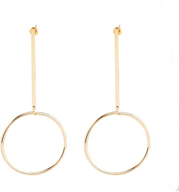 Gold Plated Earring Women Girl Round Circle Stud Earrings Red Wedding Anniversary Gift