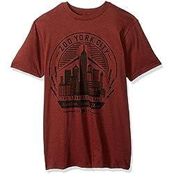 Zoo York Men's Short Sleeve Electric City T-Shirt, Machine Red Heather, X-Large