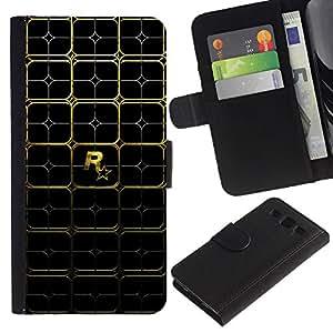 KLONGSHOP // Tirón de la caja Cartera de cuero con ranuras para tarjetas - Patrón Juegos R0Ckstare Oro - Samsung Galaxy S3 III I9300 //