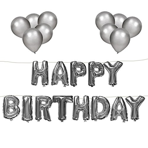 Large Self Inflating Happy Birthday Banner, Letters Foil Bunting with 10 Balloons for Party Decorations (Self Inflating Balloons)