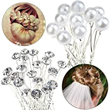 Quality Set of 30pcs Hair Pins / Slides / Barrettes / Weddings Brides / Proms / Balls Hairstyles Decorations With Silver Needles And Clear Rhinestones / Crystals / Gemstones And White Pearls By VAGA