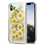 iPhone Xs Max Flower Case Cute for Girls Women [Preserved Flowers Pressed] [Handmade] [Shockproof] AHTONG Soft Clear Rubber Phone Cover with Design for iPhone Xs Max 6.5 Inch-Yellow