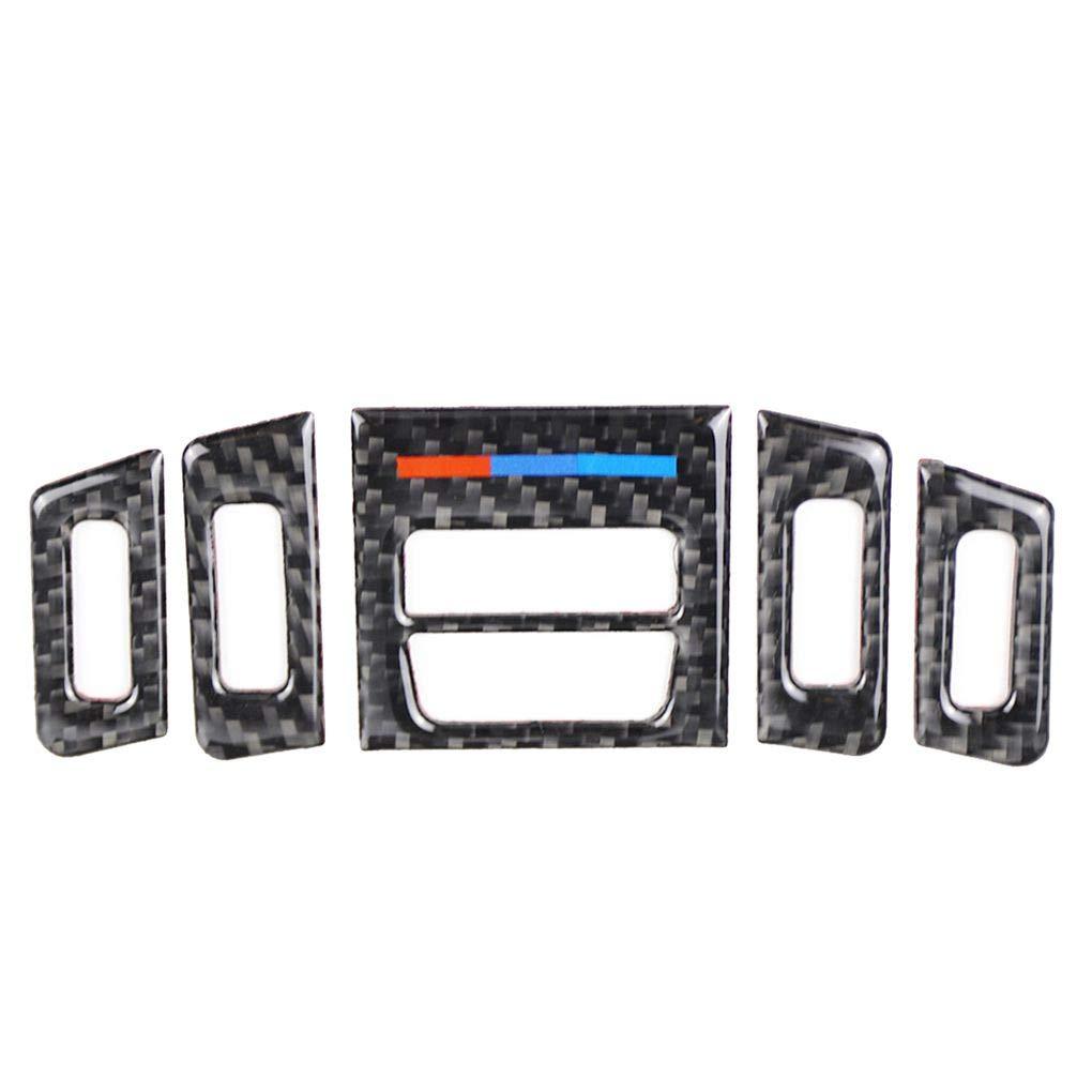 Elenx 5pcs Avant Climatiseur Sortie Carbone Garnitures en Fibre de Couverture de Remplacement pour E90 E92 E93 2005-2012