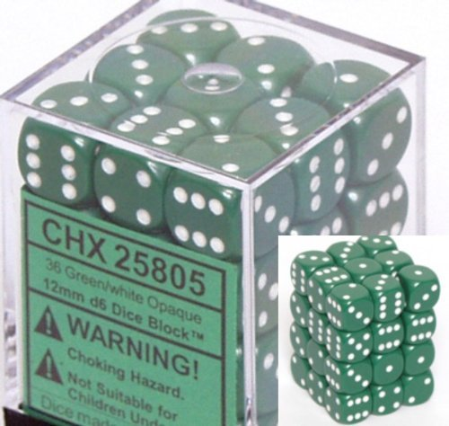 Chessex Opaque 12mm d6 Green w/White Dice Block 36 Dice ()