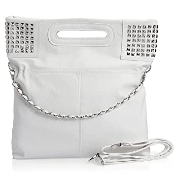 844fd15e33c0 Image Unavailable. Image not available for. Color  Women Fashion Korean  Style PU Leather Rivet Shoulder Purse Handbag Tote Bag White
