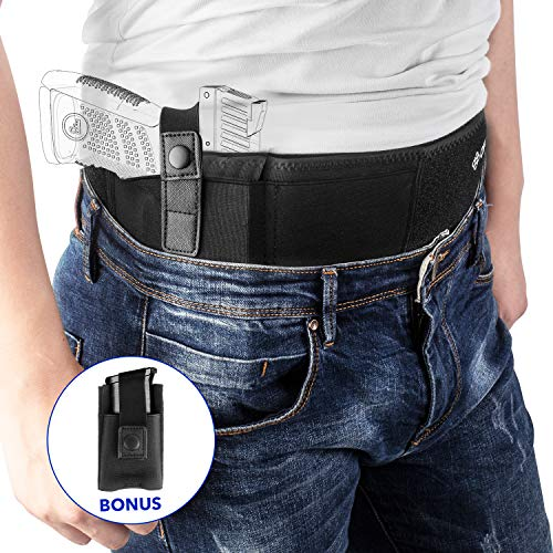 Belly Band Holster for Concealed Carry, IWB Gun Holster for Men and Women, Most Comfortable Waistband Handgun Carrying System with Magazine Pouch, One Holster Fits Most Pistols & Revolvers (Right)