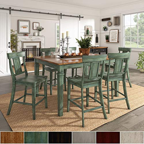 Inspire Q Classic Elena Antique Sage Green Extendable Counter Ight Dining Set with Panel Back Chairs by Grey 6 7-Piece Sets