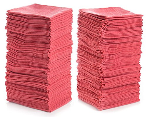 """Shop Towels (Pack of 100) 12"""" X 14"""" Reusable Cotton Towels - Perfect for Cleaning, Home, Mechanic, Automotive, Machines and Janitorial (Red) ()"""