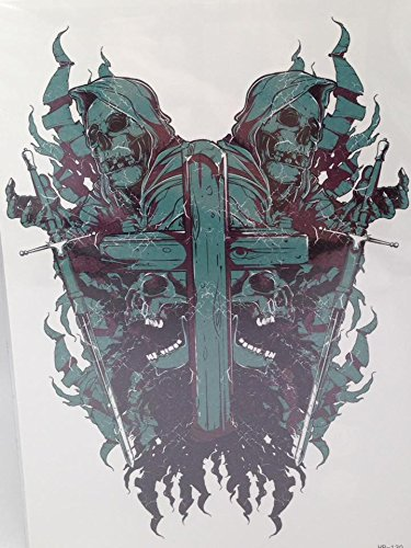 [Large Temporary Tattoos CROSS SKULL DEVIL Sticker Body Art Make up for Men Women Fake Tattoo Paper Waterproof 14 X] (Third Leg Costume)