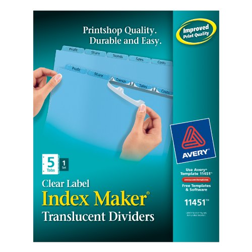 Avery Index Maker Translucent Dividers with Clear Labels, 5-Tab, Blue, 1 Set (11451) by Avery