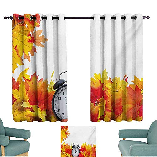 DONEECKL Kids Room Curtains Clock Autumnal Leaves and an Alarm Clock Fall Season Theme Romantic Digital Print Noise Reducing Curtain W63 xL72 White and Orange ()