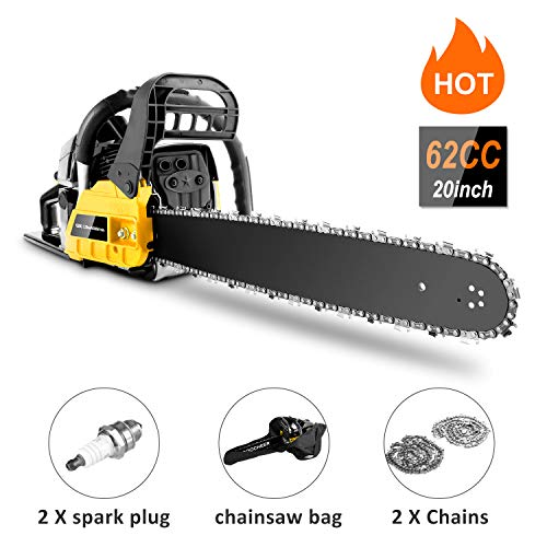 couply 62CC Cordless Chainsaw, 20″ Gas Powered Chainsaw with 2 Stroke, Handed Petrol Gasoline Saw Woodcutting Saw for Garden, Farm and Ranch with Tool Kit