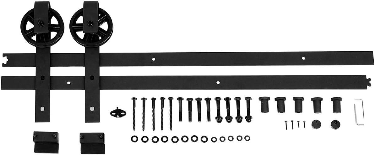AmazonBasics Sliding Barn Door Hardware Kit, 6.6 Foot, Big Wheel, Black