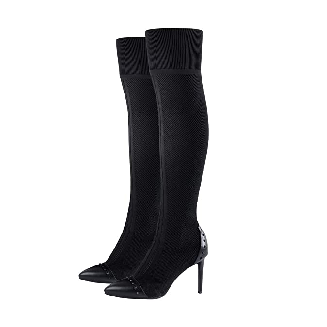 0bc6b50eae6 Onlymaker Womens Stretch Knit Over The Knee Boots Pointed Toe Studded  Stiletto High Heel Thigh High Boots