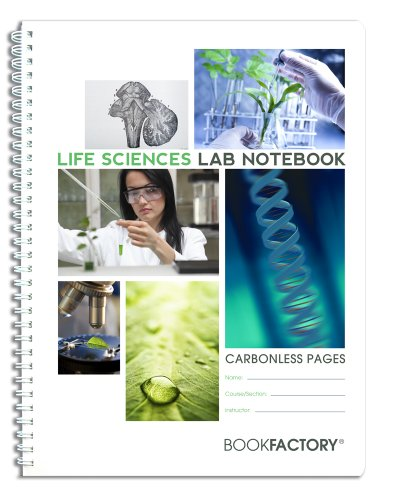 BookFactory Carbonless Life Sciences Lab Notebook - 75 Sets of Pages (8.5' X 11') (Duplicator) - Scientific Grid Pages, Translucent Cover, Wire-O Binding (LAB-075-7GW-D (Life Sciences))