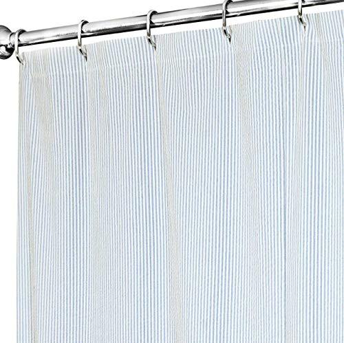 Extra Long Shower Curtain 72 x 84 Inch Shower Curtains for Bathroom Decor- Fabric Shower Curtain Blue Striped Seersucker Beach Shower Curtain for Beach House Decor by Decorative Things (Image #1)