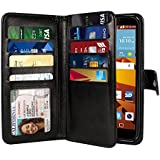 NEXTKIN LG G Stylo LS770 Case, Leather Dual Wallet Folio TPU Cover, 2 Large Pockets Double flap Privacy, Multi Card Slots Snap Button Strap For LG G Stylo LS770/G Vista 2 H740 2nd 2015 - Black