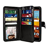 note 2 wallet case - NEXTKIN LG G Stylo LS770 Case, Leather Dual Wallet Folio TPU Cover, 2 Large Pockets Double flap Privacy, Multi Card Slots Snap Button Strap For LG G Stylo LS770/G Vista 2 H740 2nd 2015 - Black