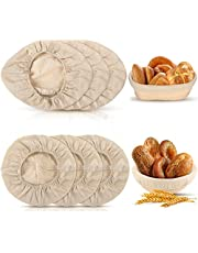 6 Pieces Round and Oval Bread Banneton Proofing Basket Cloth Liner Set 9 Inch and 10 Inch Brotform Proofing Cloth Liner Natural Rattan Baking Dough Baskets Cover for Baking Supplies