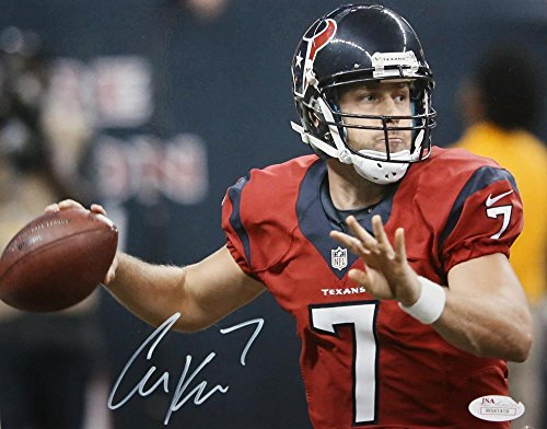 Signed Case Keenum Photograph - Texans 8x10 About to Pass Red Jersey Authenti - JSA Certified - Autographed NFL Photos
